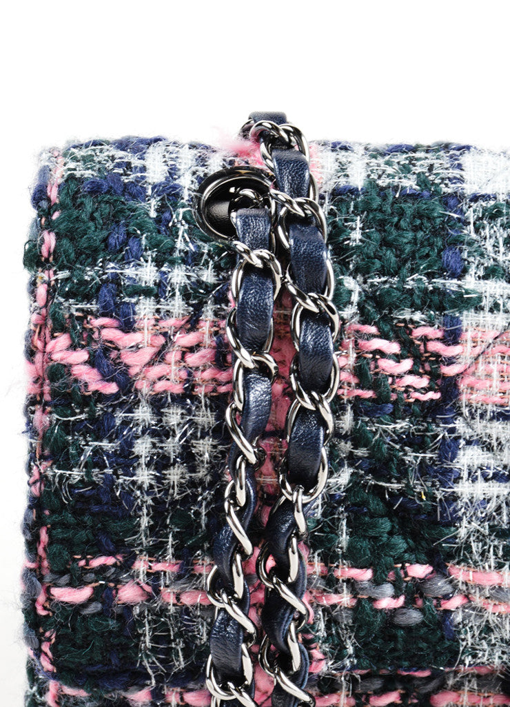 "Chanel Pink and Navy Metallic Tweed ""CC"" Turn Lock Chain Strap Flap Bag Detail"