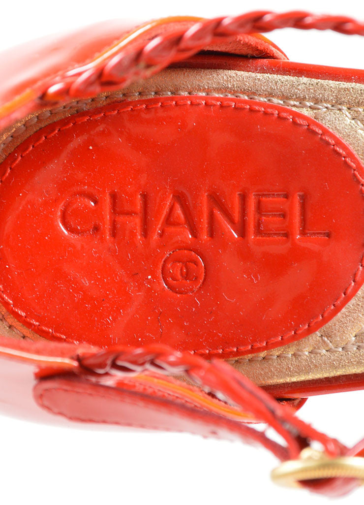 Chanel Red Patent Leather Braided Gripoix Stone Sandals Brand