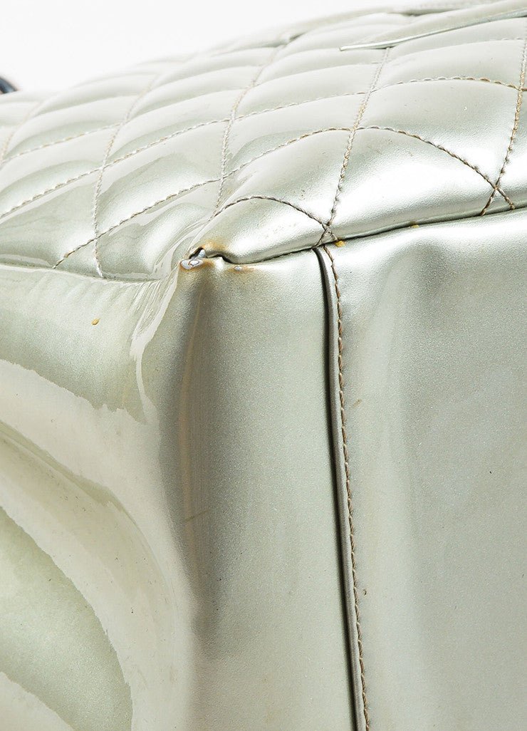 "Chanel Silver Patent Leather 'CC' Quilted ""Grand Shopping"" Tote Bag Detail"