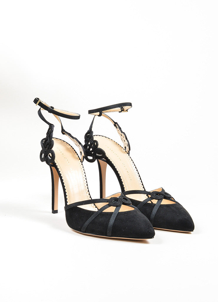 "Black Suede Charlotte Olympia ""Minx"" Knotted Ankle Strap Pumps Frontview"