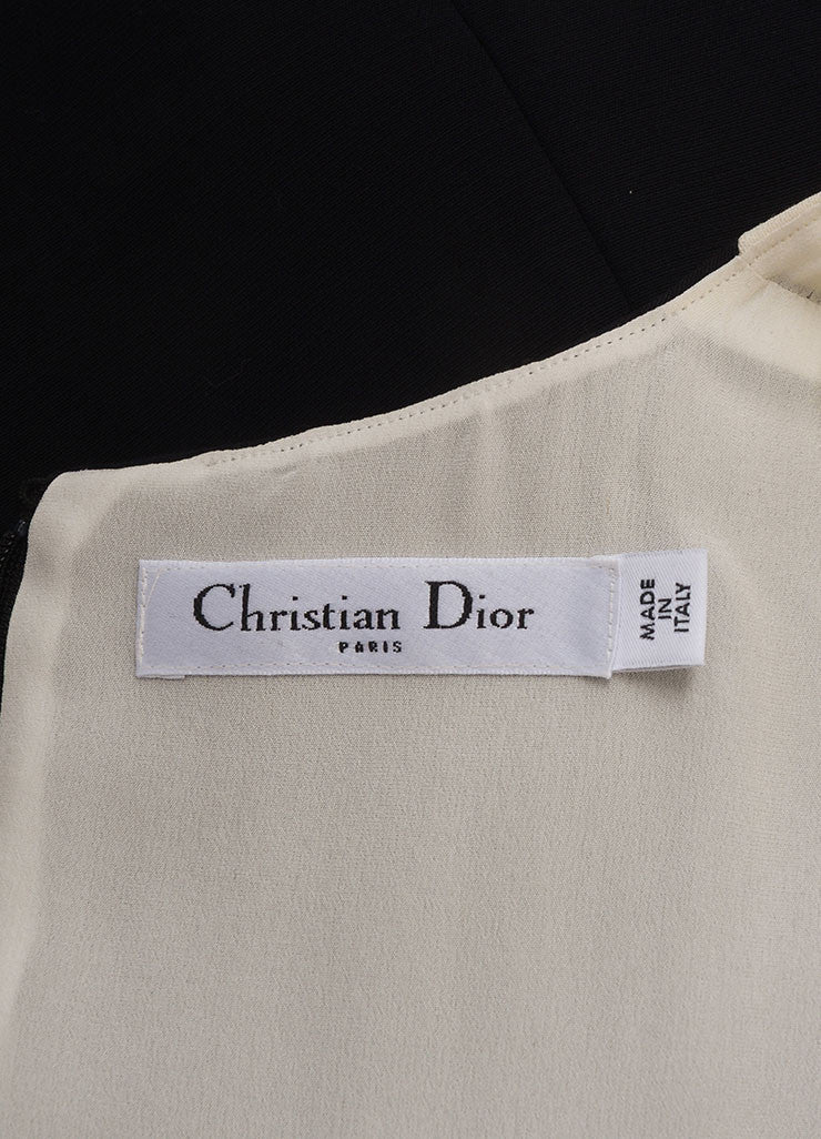 Christian Dior New With Tags Black and Cream Silk and Wool Color Block Short Sleeve Sheath Dress Brand