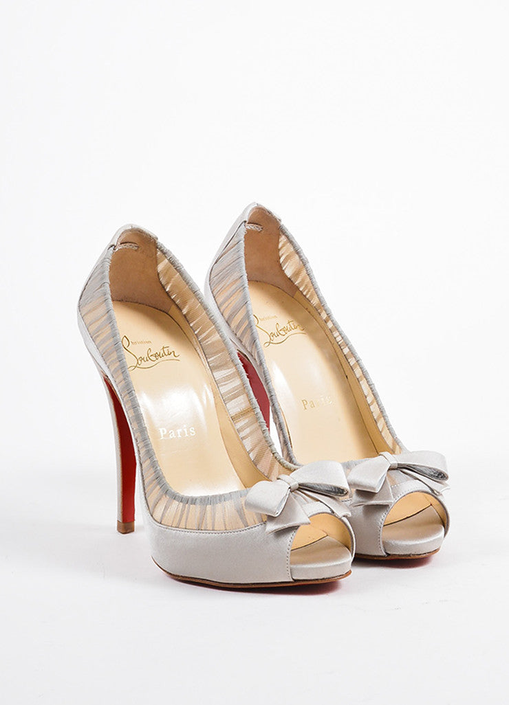 "Christian Louboutin Grey Satin Peep Toe ""Angelique 120"" Pumps Frontview"