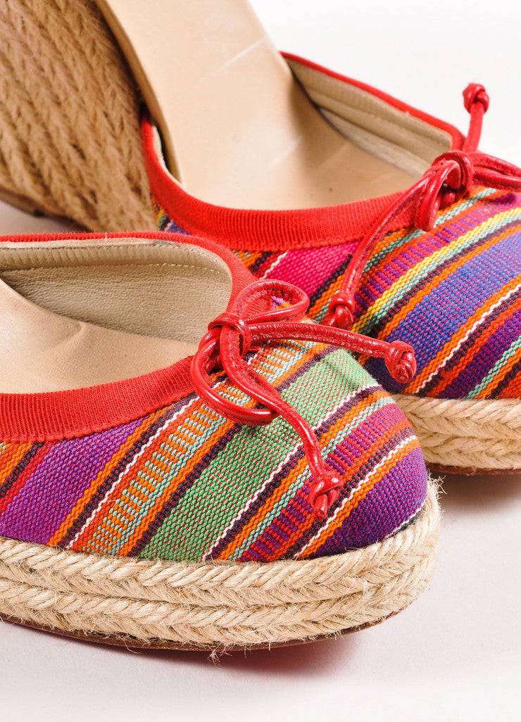 Christian Louboutin Red Striped Tie Wedge Espadrilles Detail