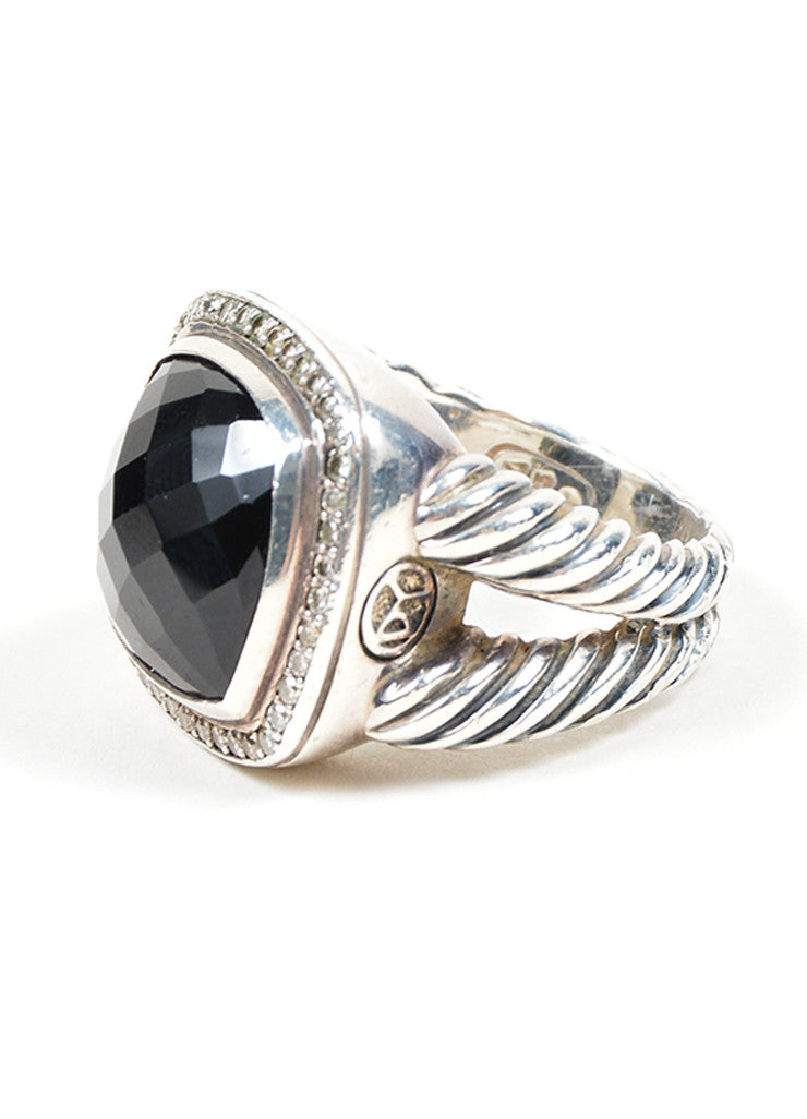"Sterling Silver, Black Onyx, and Diamond David Yurman ""Albion"" Statement Ring Sideview"