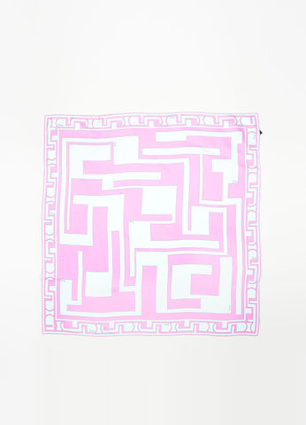 Emilio Pucci Light Blue Pink Silk Geometric Print Scarf Frontview