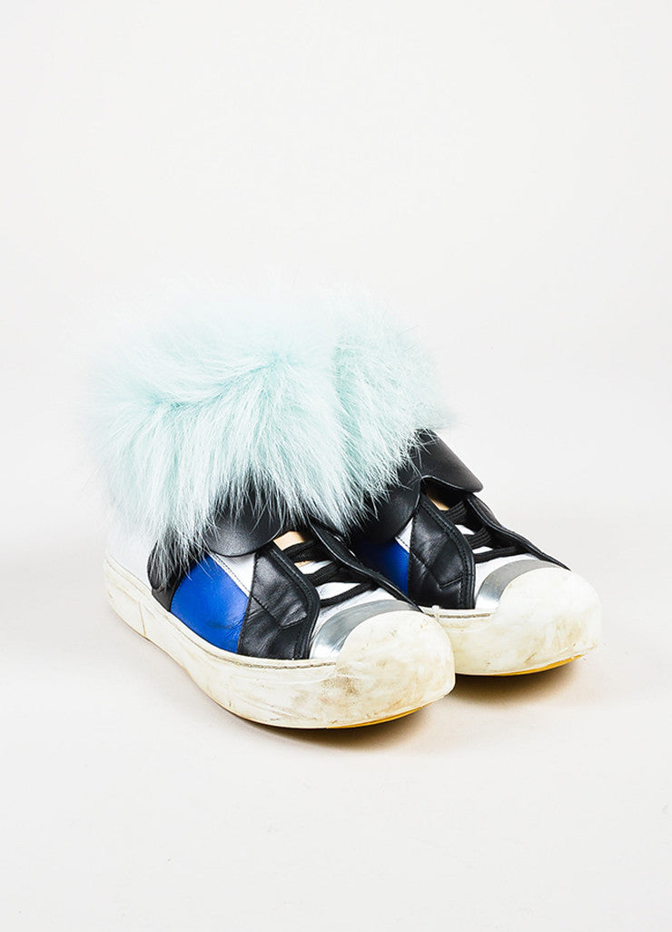 "Fendi Multicolored Leather Fur ""Karlito"" Monster High Top Sneakers Front"