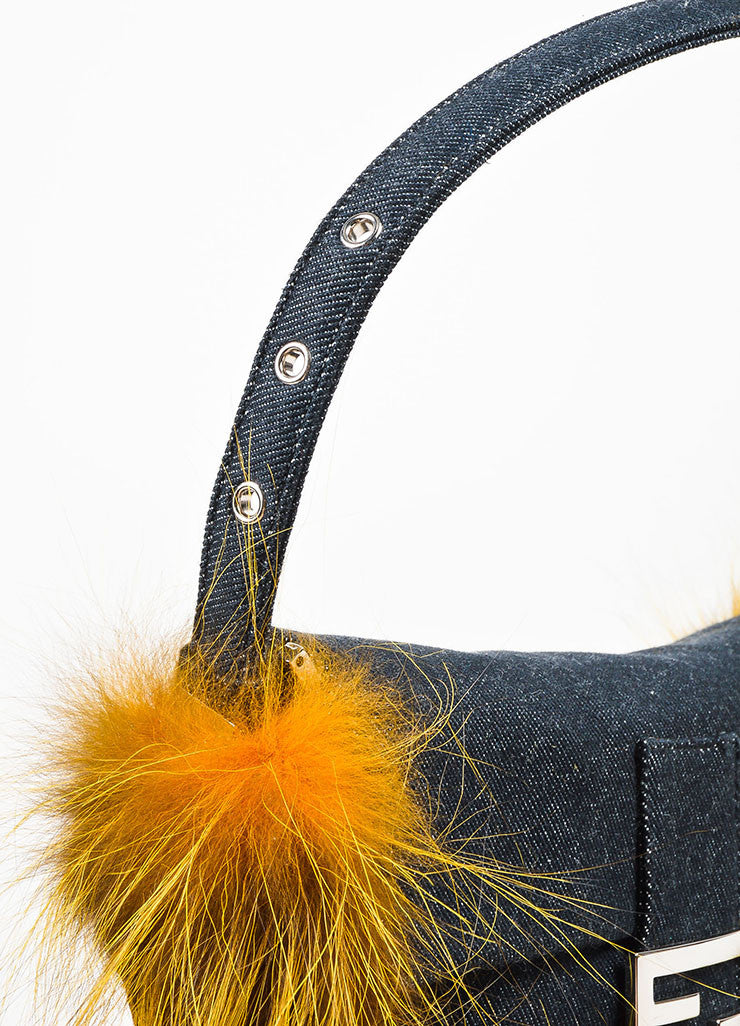 "Fendi Indigo and Yellow Denim Fox Fur Trim ""Be Baguette"" Shoulder Bag Detail 2"