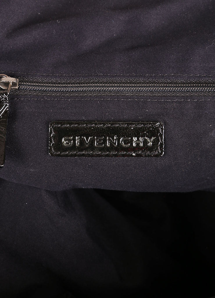 "Givenchy Black Crinkle Patent Leather Two Pocket ""Nightingale"" Tote Bag Brand"