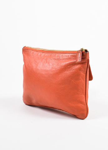 "Givenchy Orange Leather ""Nightingale"" Zip Pouch Bag Sideview"