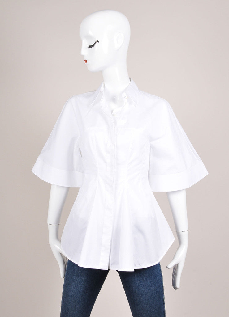 Givenchy White Flared Button Up Collared Cotton Batwing Blouse Frontview