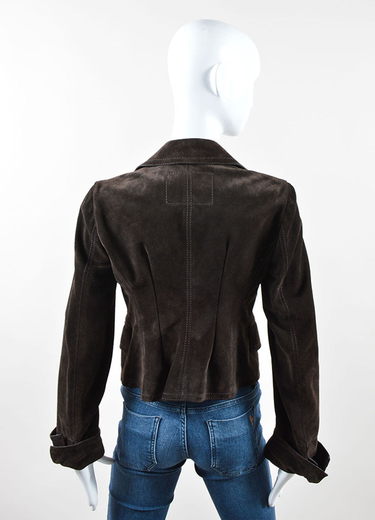 Gucci Dark Brown Suede Button Tailored Jacket Backview