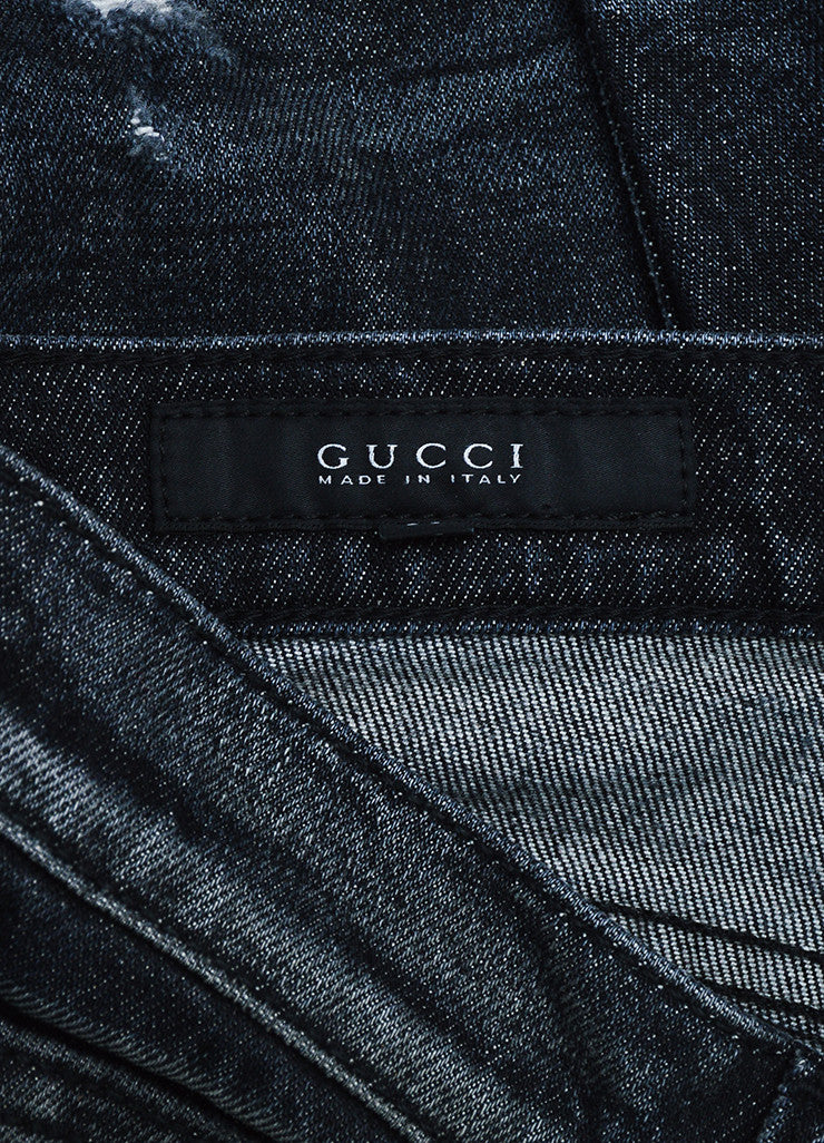Gucci Dark Grey Denim Faded Distressed Straight Leg Regular Jeans Brand