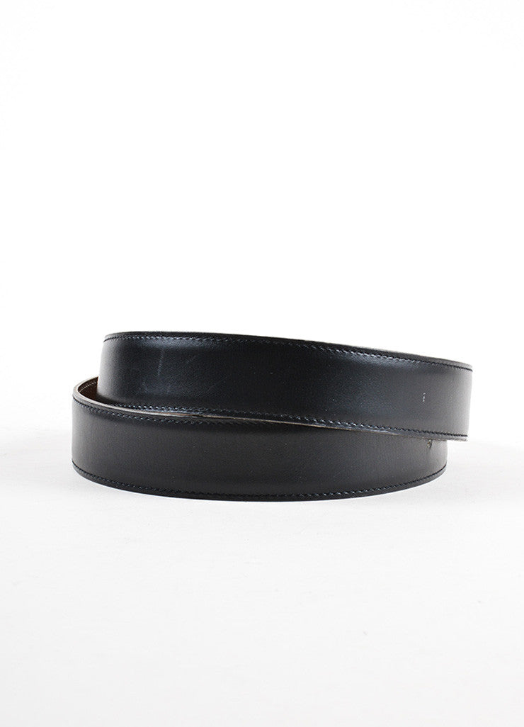Hermes Black Box Calf Leather Belt Strap Frontview