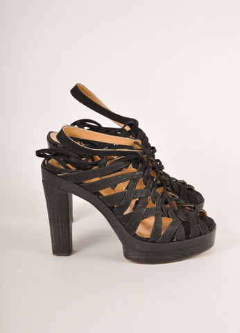 Hermes Black Strappy Woven Lace-Up Leather Platform Heeled Sandals Sideview