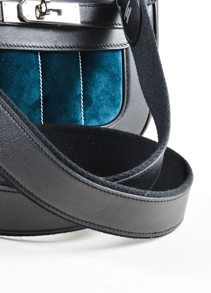 "Hermes Black and Teal Calfskin and Suede Leather Quilted ""Mini Berline"" Shoulder Bag Detail 2"