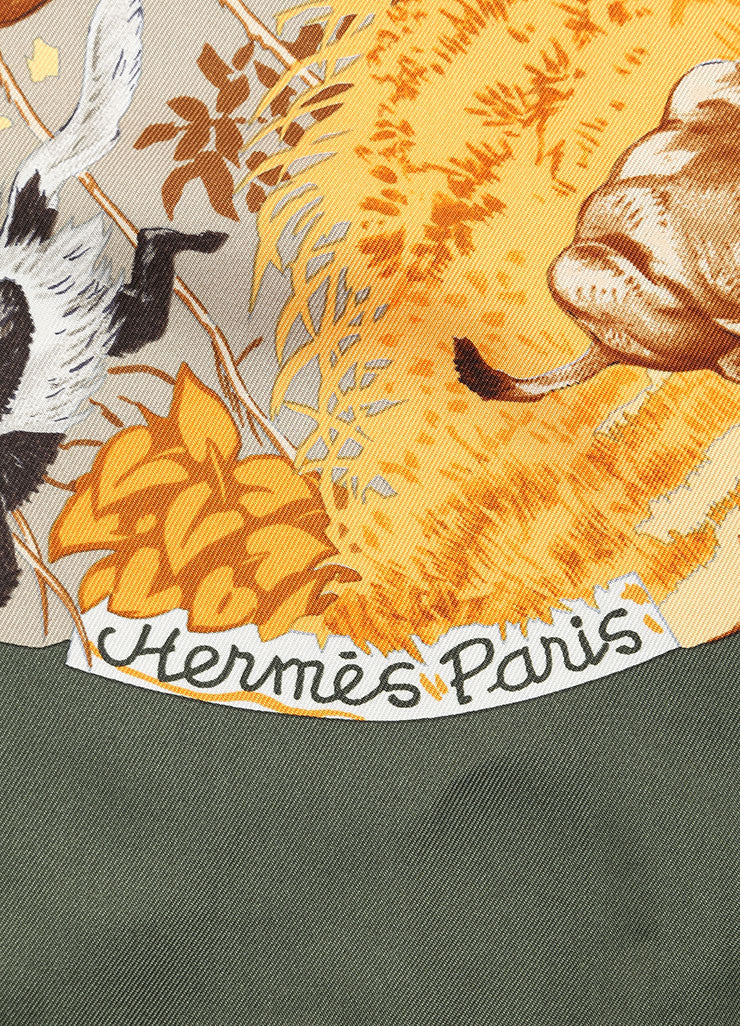 "Hermes Multicolor Silk Animal Print ""Africa"" Scarf Brand"