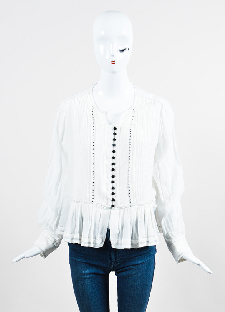 White Isabel Marant Pleated Front Long Sleeve Blouse Frontview