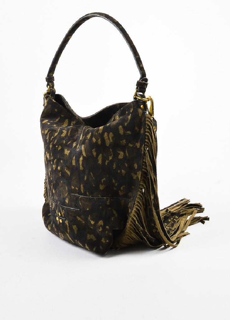 "Jerome Dreyfuss ""Kaki"" Green Suede Leopard Spotted Fringed ""Mario"" Bag Sideview"