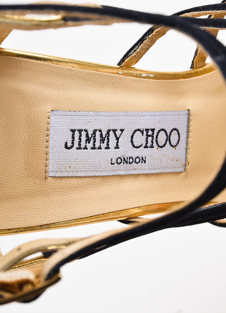 "Jimmy Choo Black and Gold Leather and Canvas ""Bunting"" Cage Sandal Heels Brand"