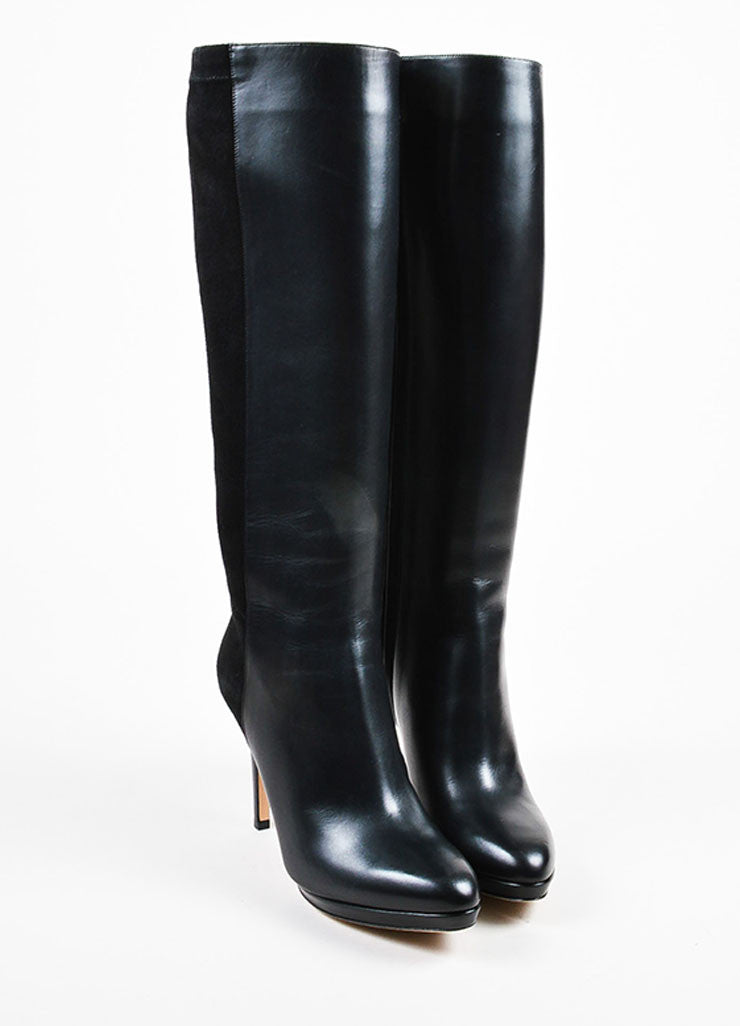 "Jimmy Choo Black Suede Leather ""Allegra"" Knee High Heel Boots Frontview"