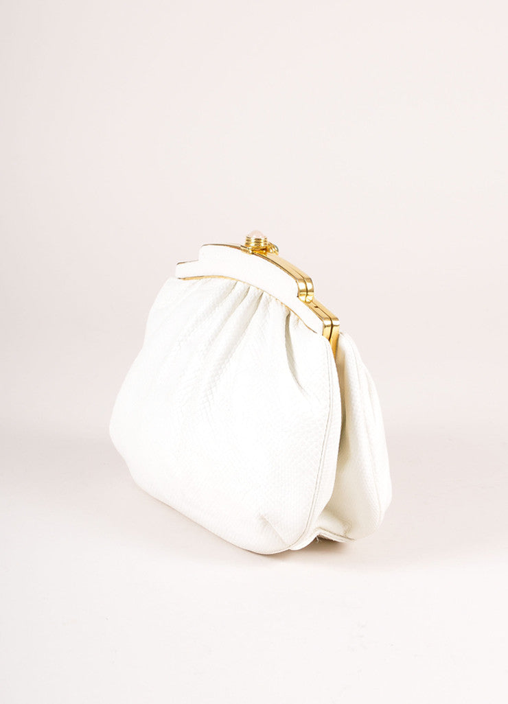 Judith Leiber White and Gold Tone Cabochon Latch Reptile Leather Convertible Clutch Bag Sideview