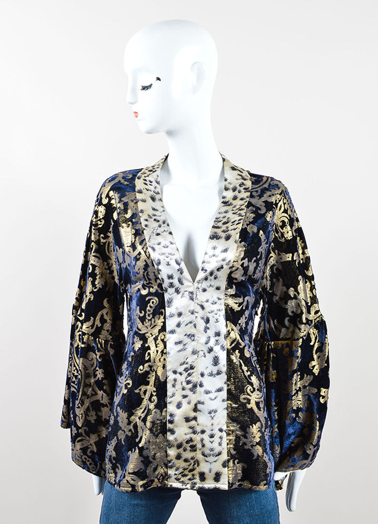 Just Cavalli Navy Blue and Gold Cheetah Print Tunic Front
