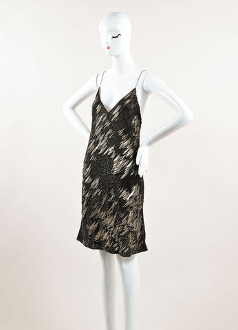 Kaufmanfranco Grey and Beige Sequined Shredded Spaghetti Strap Dress Sideview