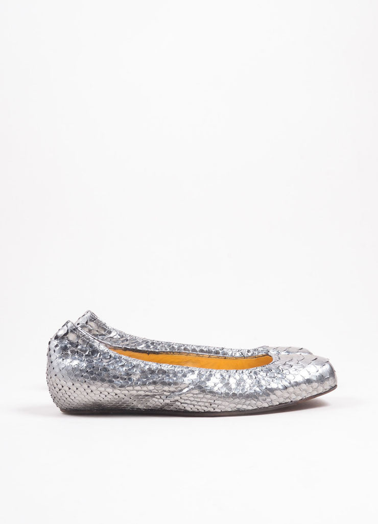 Lanvin Silver Python Leather Metallic Padded Ballerina Flats Sideview