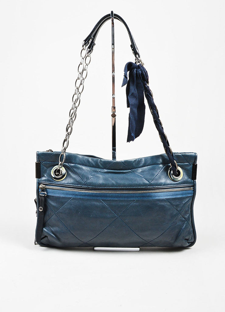 "Navy Blue and Gunmetal Grey Lanvin Leather Grosgrain Chain ""Amalia"" Shoulder Bag Frontview"