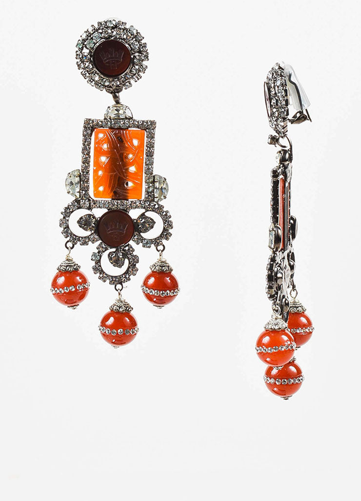 Lawrence Vrba Silver Toned and Red Carved Resin Crystal Chadelier Clip On Earrings Sideview