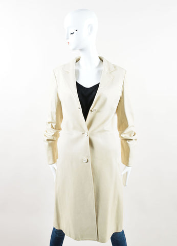 Loro Piana Cream Leather Button Up Trench Coat Frontview