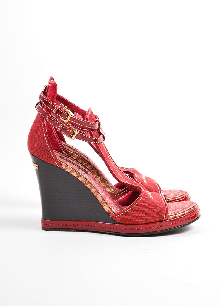 Louis Vuitton Red Canvas and Patent Leather Trim Ankle Strap Wedge Sandals Sideview