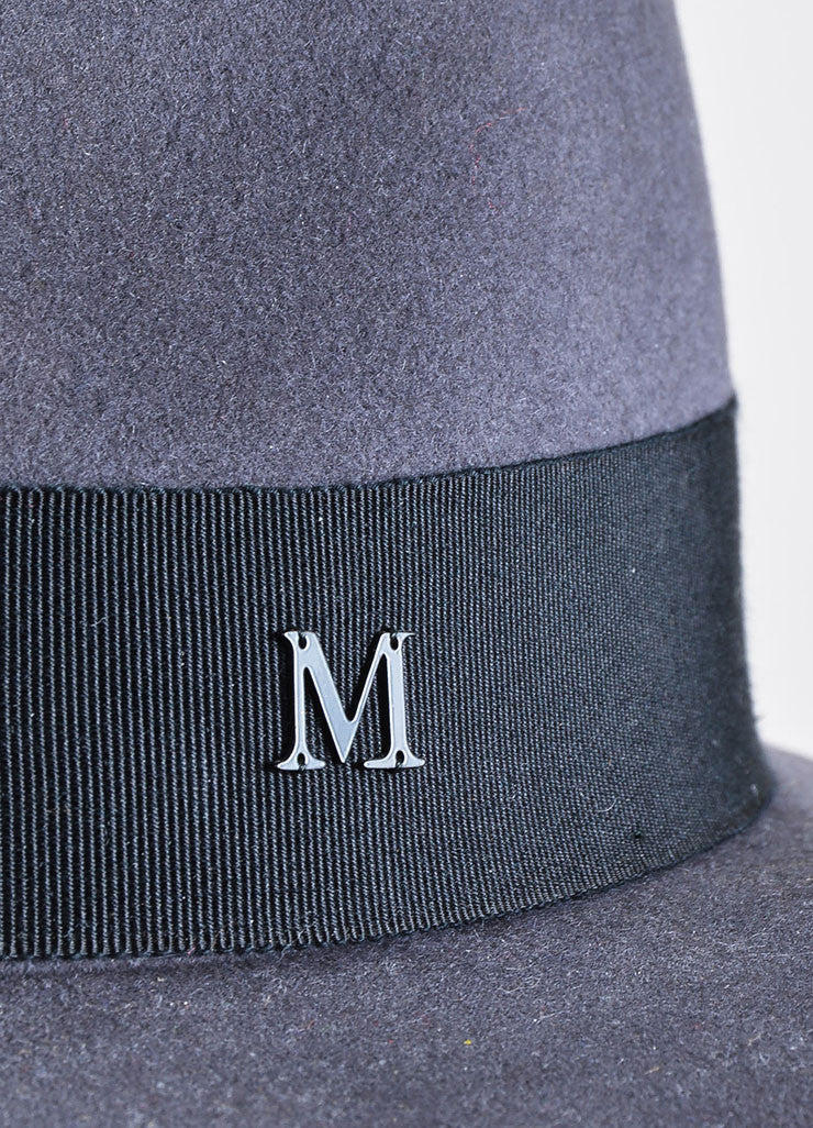 "Maison Michel Grey Felt Black Band ""Andre"" Wide Brim Hat Detail"