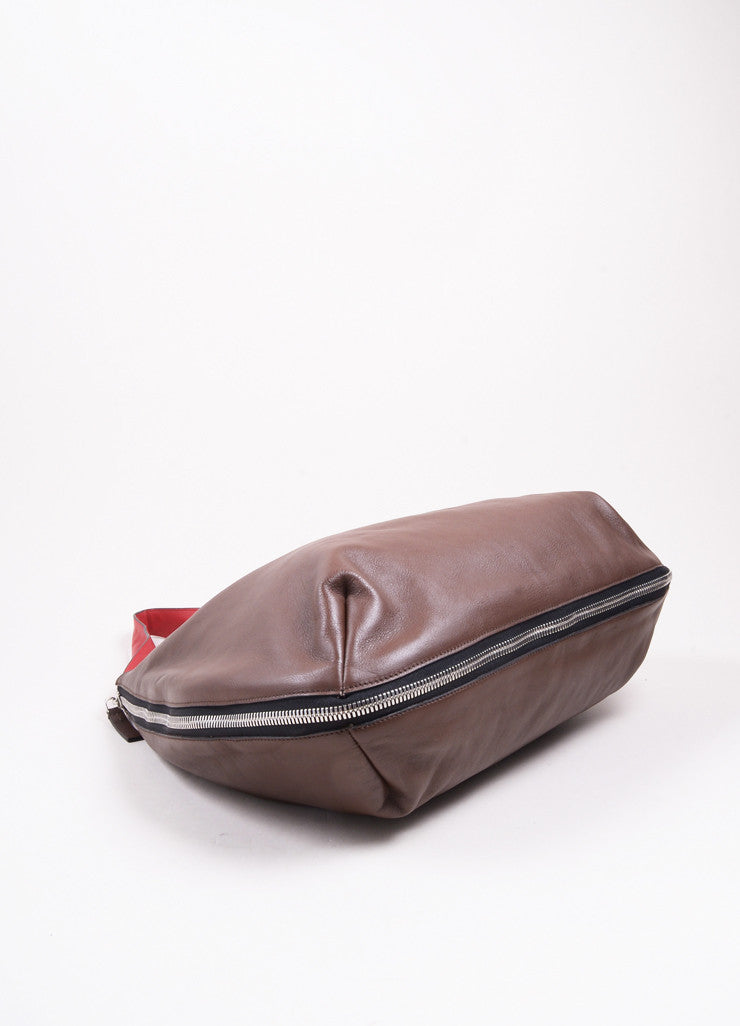 Marni Brown and Red Leather Expandable Zipper Hobo Shoulder Bag Bottom View