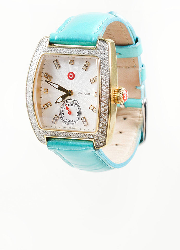 "Multicolor Stainless Steel and Diamond Michele ""Mini Urban"" Watch and Straps"
