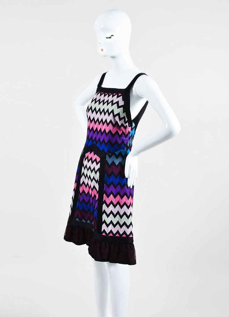 Multicolor Missoni Knit Zig Zag Pattern Mesh Back Sleeveless Dress Sideview