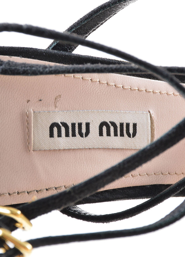 Black Miu Miu Suede Leather Strappy Heeled Sandals Brand