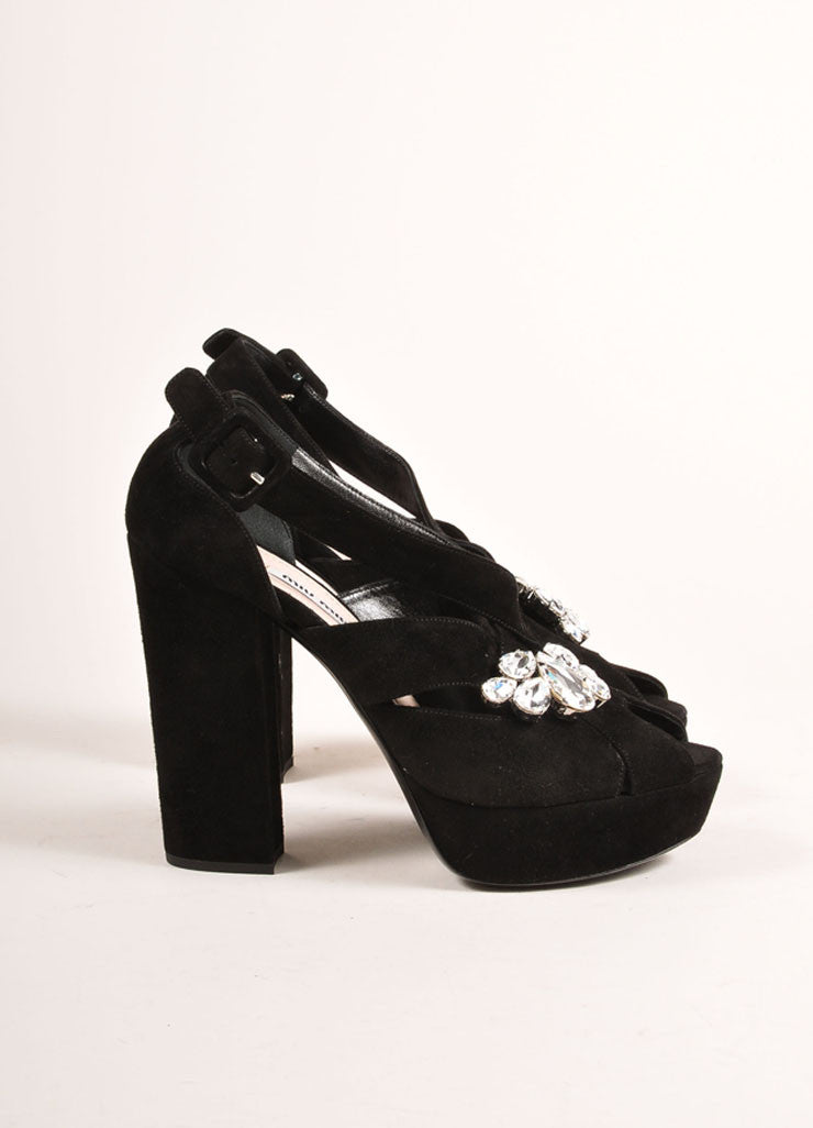 "Miu Miu New In Box Black Suede Platform Jewel Embellished ""Cam"" Platform Sandals Sideview"