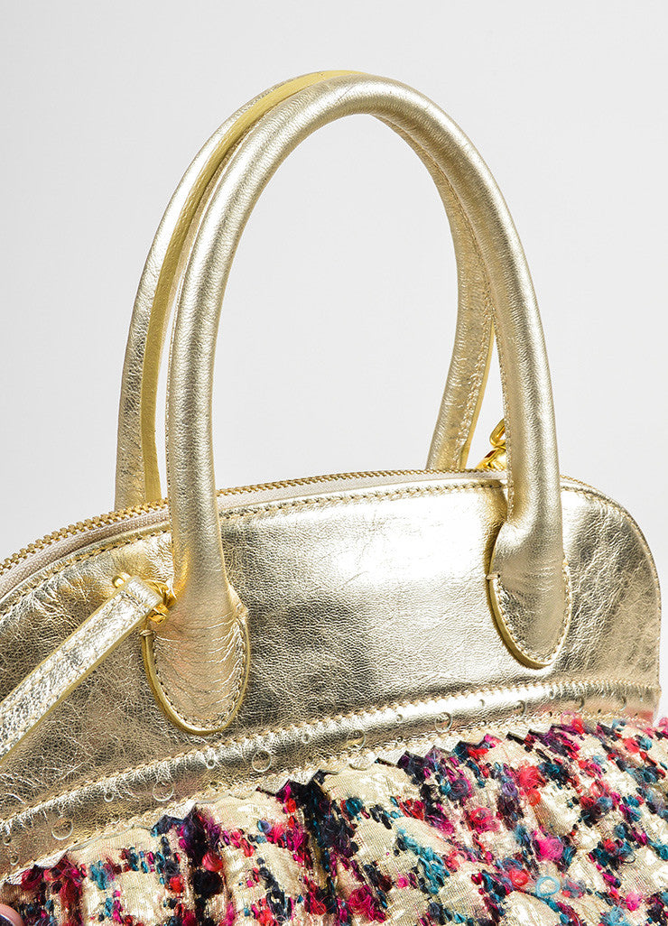 Moschino Gold Metallic Leather and Multicolor Tweed Small Satchel Bag Detail 2