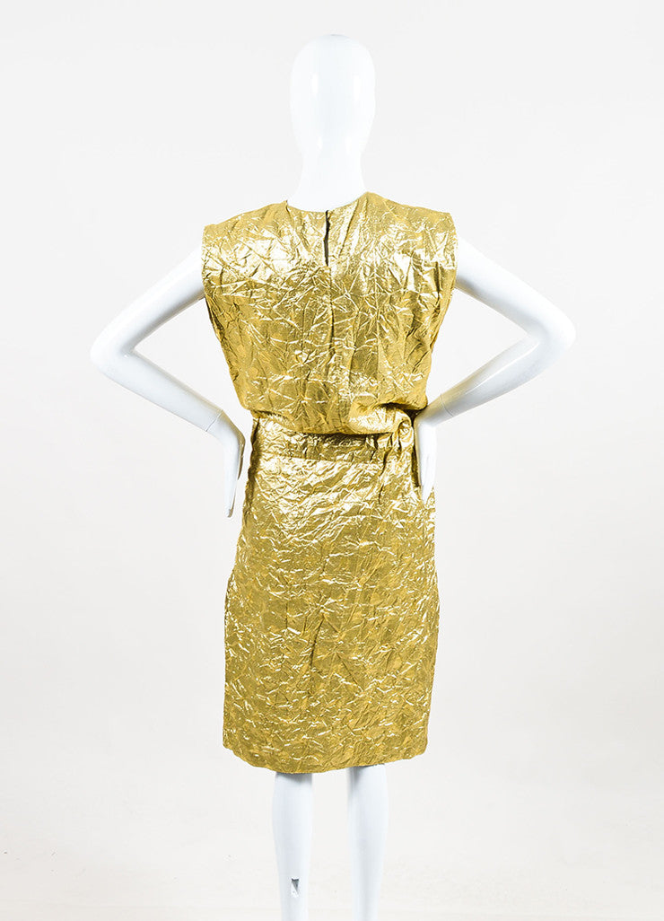 Ms Min Metallic Gold Silk Blend Polka Dot Crinkled Sleeveless Belted Dress Backview