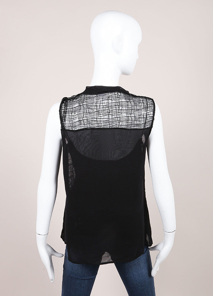Oscar de la Renta Black Silk Sheer Woven Lace Sleeveless Blouse Backview