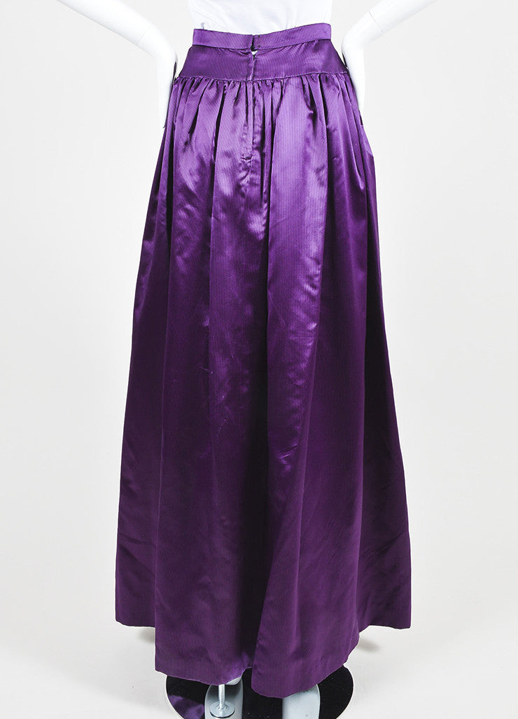 Purple and Black Oscar de la Renta Silk Satin Striped Ball Gown Skirt Backview