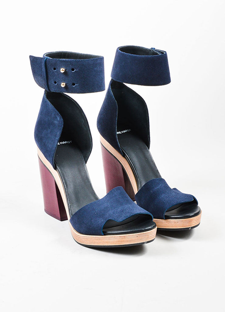 Navy Blue and Maroon Pierre Hardy Suede Leather Wood Sandals Frontview