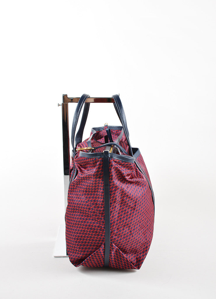 Pierre Hardy Red and Navy Nylon and Leather Cube Print Weekended Tote Bag Sideview