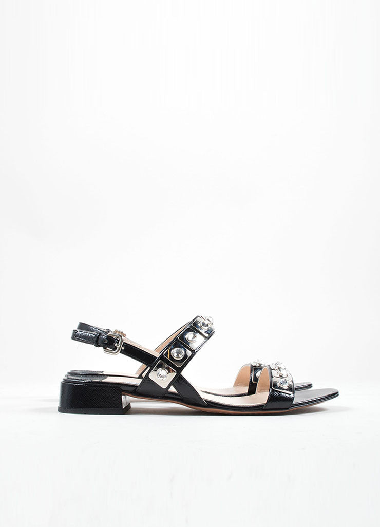 Prada Black Saffiano Leather Metal Jeweled Low Heel Sandals Sideview