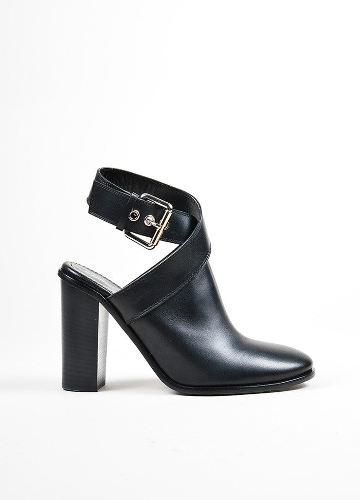 Black Proenza Schouler Leather Ankle Strap Tower Heel Mules Sideview