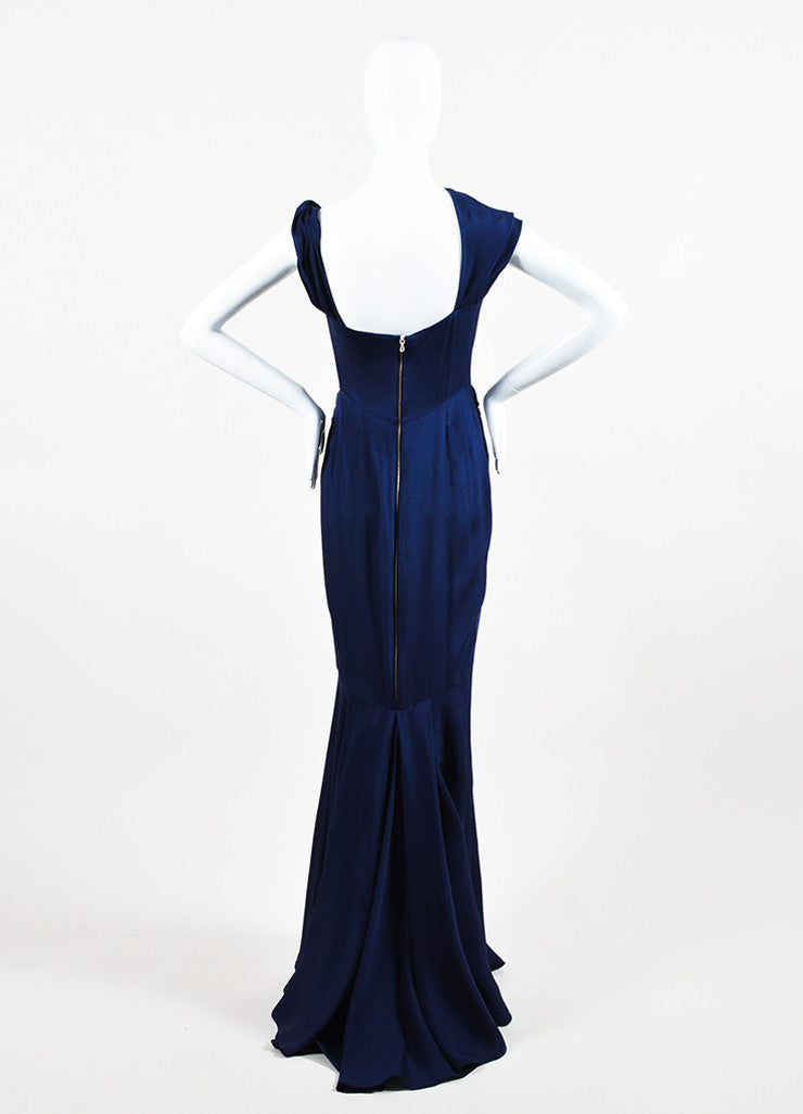 RM By Roland Mouret Navy Asymmetrical Knot Sleeveless Trumpet Dress Gown Backview