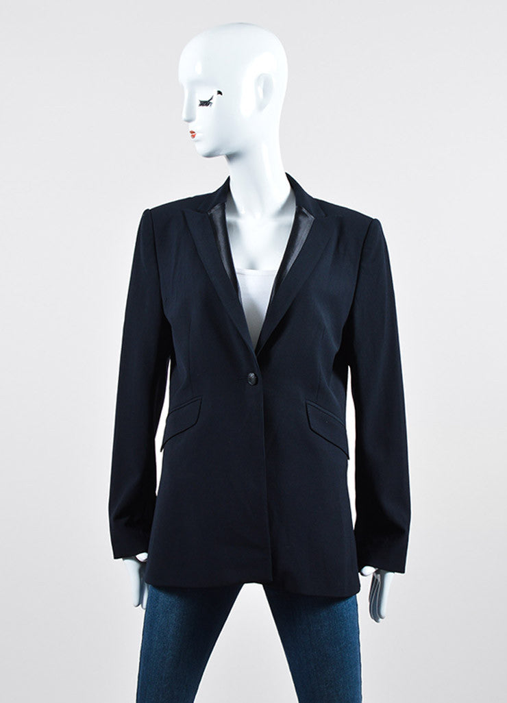 Rag & Bone Black Satin Trim Long Sleeve Single Button Blazer Jacket Frontview