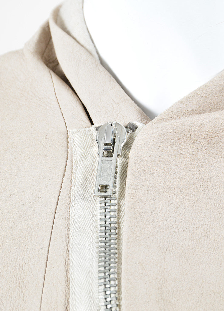 Rick Owens Beige Leather Ribbed Knit Asymmetrical Zip Jacket Detail