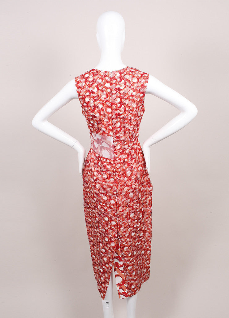 "Roksanda Ilincic New Orange and Red Geometric Silk ""Langston"" Dress Backview"